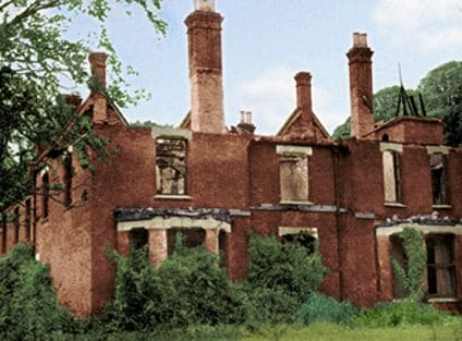 Borley Rectory after the fire which destroyed it