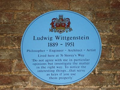 The plaque at Storey's End, 76 Storey's Way, Cambridge, where Wittgenstein died