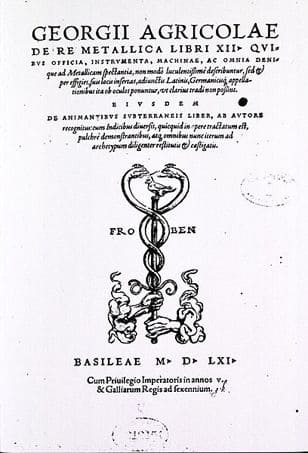 Title page of 1556 edition of Georgius Agricola's De Re Metallica